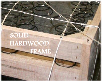 Solid hardwood frame for a 8-way hand tied leather sofa